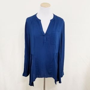 Anthropologie Laiken henley blouse navy blue Maeve